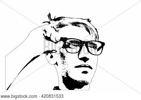 Simple Portrait Of A Young Man Adjusting His Glasses. Handsome Young Man With Fashionable Hair Looki