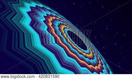 Dark Background With Many Illuminated Circles Forming A Hemisphere Vector Illustration.