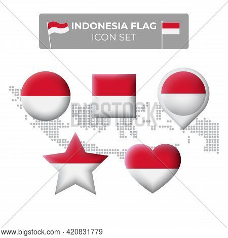 Indonesia Flag Icons Set In The Shape Of Square, Heart, Circle, Stars And Pointer, Map Marker. Mosai