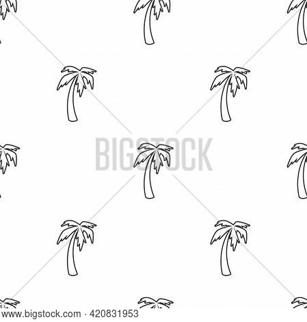 Seamless Pattern With Black Line Palm Trees On White Background. Summer Tropical Vector Ornament. Fl