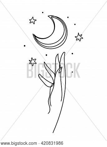 Abstract Boho Continuous Line Symbol. Hand And Crescent Moon Icon. Aesthetic Drawing For Logo, Beaut
