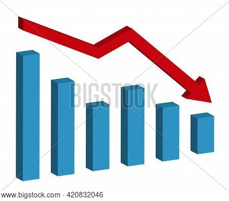 Graph With Decrease Report. 3d Diagram With Recession And Bankruptcy Progress. Business And Finance