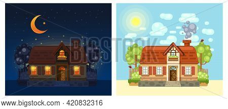House In The Village At Night And Day. Village House Drawn In Flat Cartoon Style. Set Of Pictures Wi