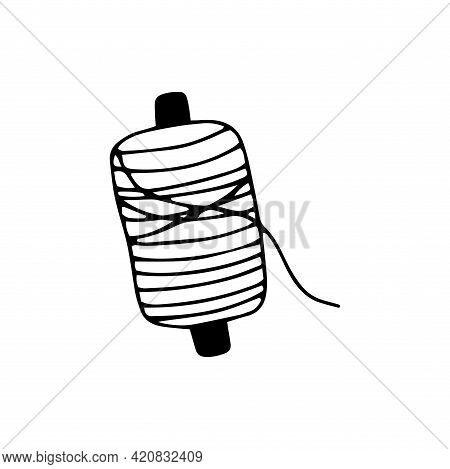 Spool Of Thread For Sewing. Black And White Vector Illustration In Doodle Style Isolated Single. Sew