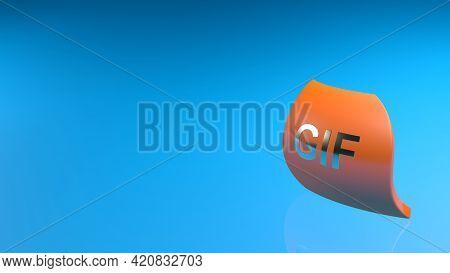 Gif Orange Icon On Blue Background - 3d Rendering Illustration