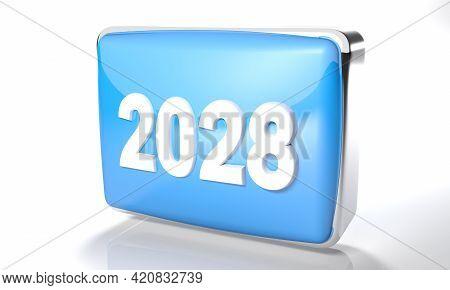 2028 Glossy Blue Box On White Background - 3d Rendering Illustration