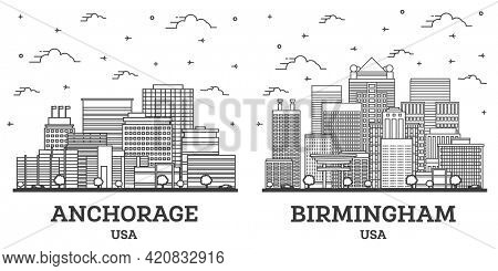 Outline Birmingham Alabama and Anchorage Alaska USA City Skyline Set with Modern Buildings Isolated on White. Cityscape with Landmarks.