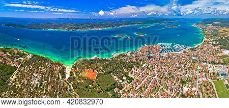 Biograd Na Moru Archipelago Panoramic Aerial View, Coastline Landscape Of Croatia