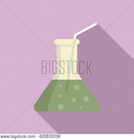 Molecular Cuisine Flask Cocktail Icon. Flat Illustration Of Molecular Cuisine Flask Cocktail Vector