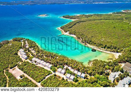 Crvena Luka Turquoise Beach And Vransko Lake Aerial View, Dalmatia Region Of Croatia