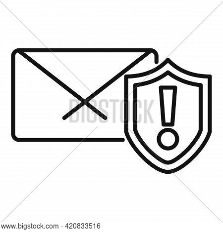 Security Service Mail Icon. Outline Security Service Mail Vector Icon For Web Design Isolated On Whi