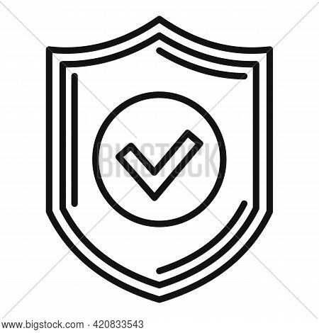 Security Service Shield Icon. Outline Security Service Shield Vector Icon For Web Design Isolated On