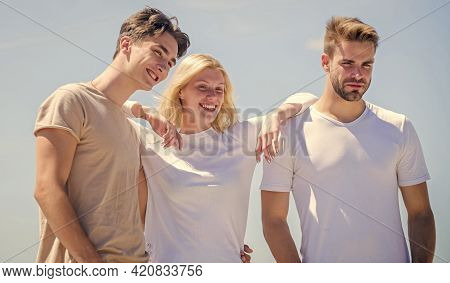 Friend Zone Concept. Happy Together. Cheerful Friends. Friendship Relations. People Outdoors. Happy