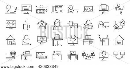 Home Office Icons Set. Outline Set Of Home Office Vector Icons For Web Design Isolated On White Back