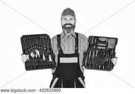 Set Of Tools. Screwdrivers Set. Man Carries Toolbox White Background. Electrician Tools. Worker Repa