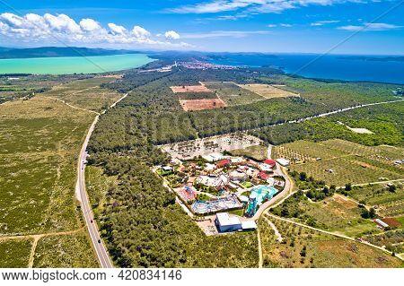 Adriatic Sea And Vransko Lake Aerial View Near Crvena Luka, Town Of Pakostane, Dalmatia Region Of Cr