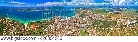Biograd Na Moru Archipelago And Ravni Kotari Panoramic Aerial View, Coastline Landscape Of Croatia