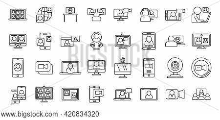 Video Call App Icons Set. Outline Set Of Video Call App Vector Icons For Web Design Isolated On Whit