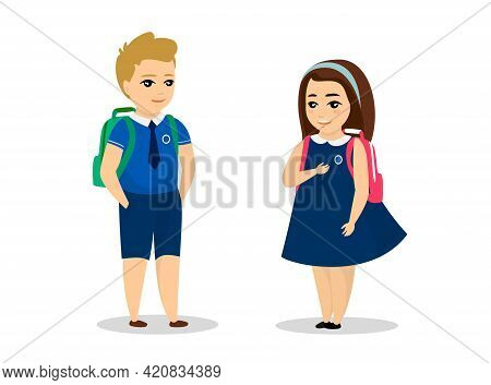 Schoolboy And Schoolgirl Stand In Blue Uniform. Cute Cartoon Smiling Male And Female Schoolchild Wit