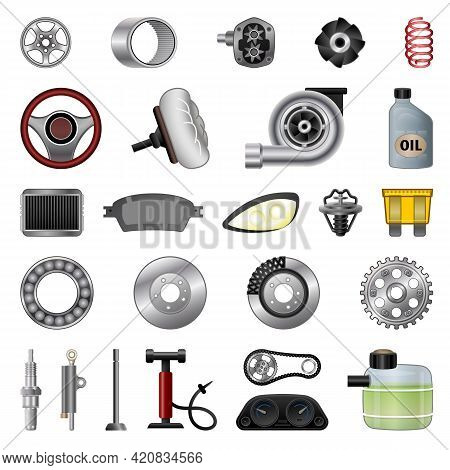 Car Parts Icons Set. Cartoon Set Of Car Parts Vector Icons For Web Design