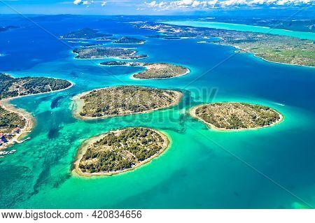 Murter Island Archipelago And Vransko Lake Aerial View, Dalmatia Region Of Croatia