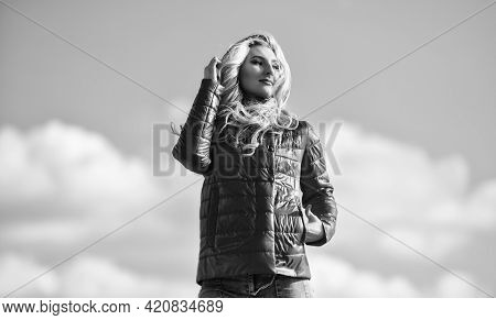 Fashion Outfit. Windy Day. Matching Style And Class With Luxury And Comfort. Girl Red Jacket Cloudy