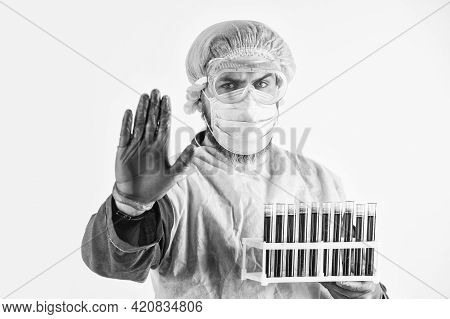 Take A Blood Test. Donate Blood For Analysis. Coronavirus Pandemic Outbreak. Man Doctor Hold Testing