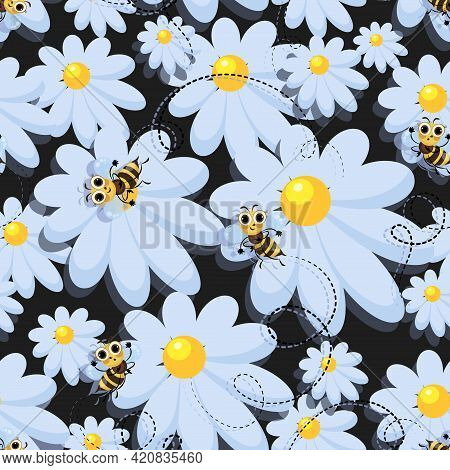 Bees. Vector Chamomile. Bee Swarm. Black Background. Bees In A Meadow With Camomiles. Bee Meadow.