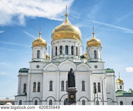 Rostov-on-don, Russia - May 8, 2021: Cathedral Of The Nativity Of The Blessed Virgin Mary With Monum
