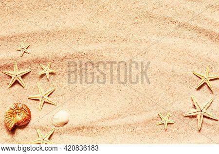 Seashell And Starfish Pattern On The Sandy Beach. Summer Background.
