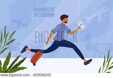Airport Terminal Vector Illustration. Happy Man With Plane Boarding Ticket In Hand Runs To Board Air