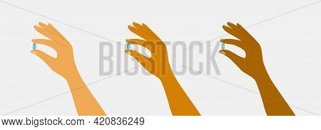 Set Of Diverse Hands With Pills. Human Fingers Hold Drugs Or Vitamins. Healthcare, Medical Treatment