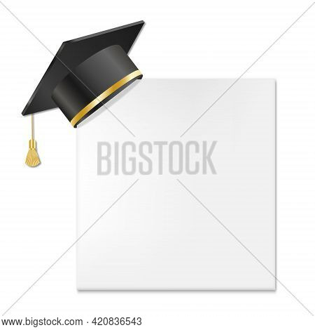 Graduation Cap And Mortar Board On Paper Corner. Vector Education Design Element Isolated On White B