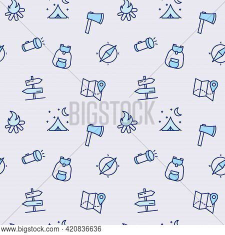 Seamless Pattern With Camping Equipment. Isolated Travel And Picnic Equipment On Blue Background. Ve