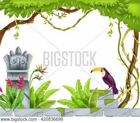 Jungle Tropical Frame, Vector Cartoon Paradise Background, Mayan Stone Totem Face, Toucan, Tree, Lia