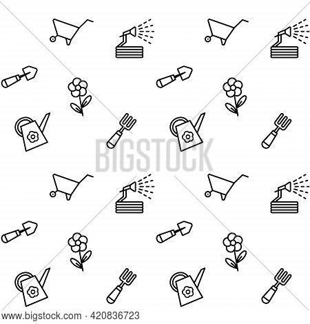Seamless Pattern With Gardening Tools. Isolated Working Equipment On White Background. Vector Illust