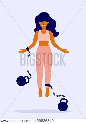 Happy Female Soaring After Fetter Relief. Freedom Vector Illustration. Mental Liberation, Body Posit