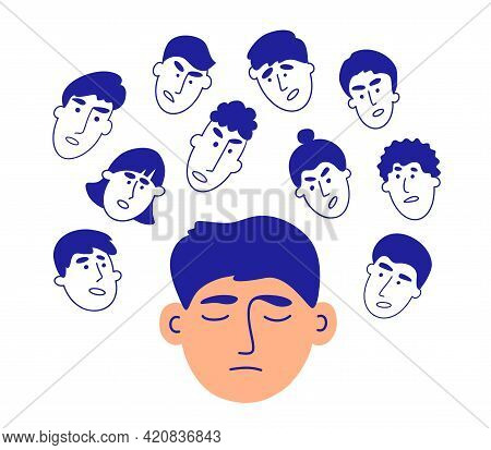 Voices In Head. Human Faces Talk Give Advice. Social Pressure, People Criticism, Bullying Concept. B