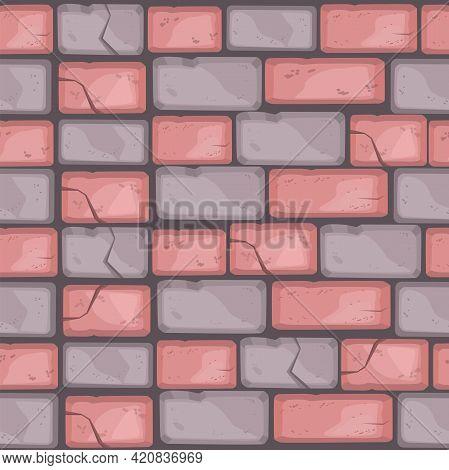 Stone Floor Cartoon Seamless Pattern, Brick Wall Texture, Multicolored Road Pavement Background, Cra