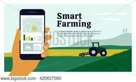 Smart Farming Layout Template. Human Hand Holding Smartphone With Map, Chart, Graph, Controlled Trac