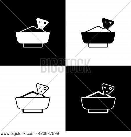 Set Nachos In Bowl Icon Isolated On Black And White Background. Tortilla Chips Or Nachos Tortillas.