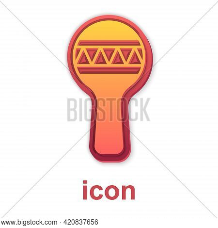 Gold Maracas Icon Isolated On White Background. Music Maracas Instrument Mexico. Vector