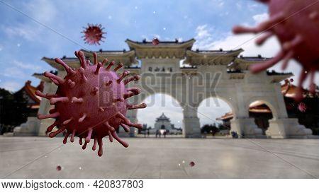 3D Illustration Flu Coronavirus Floating On Memorial Hall Taipei. Taiwan Covid19