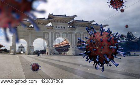 3D Illustration. Taipei Paifang Memorial Hall And Coronaviruses Pandemic. Covid