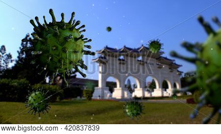 3D Illustration Covid 19 Memorial Hall Taipei. Paifang Gate And The Virus Taiwan