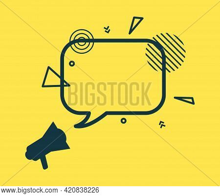 Speech Bubble And Loudspeaker In Flat Style. Black Rectangular Frame With Abstract Geometric Shapes.