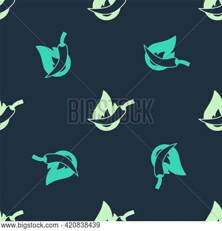 Green And Beige Hot Chili Pepper Pod Icon Isolated Seamless Pattern On Blue Background. Design For G