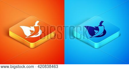 Isometric Hot Chili Pepper Pod Icon Isolated On Orange And Blue Background. Design For Grocery, Culi