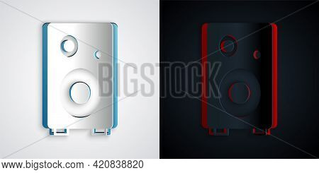 Paper Cut Stereo Speaker Icon Isolated On Grey And Black Background. Sound System Speakers. Music Ic