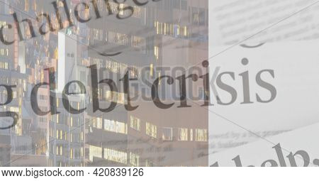 Debt crisis text over city buildings background, economy and financial crisis concepts. digitally generated image